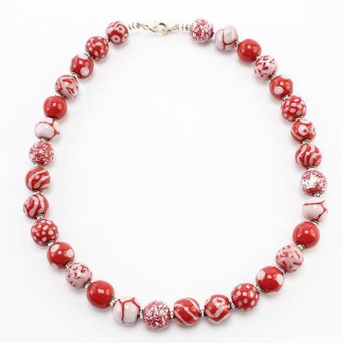 steinfarben-Shop - Halskette Rotweiß 1