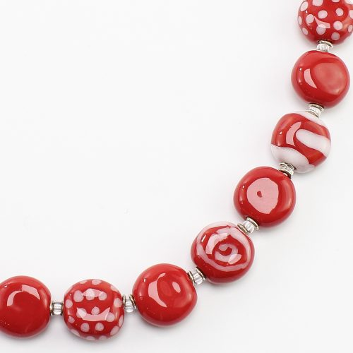 steinfarben-Shop - Halskette Rotweiß 2