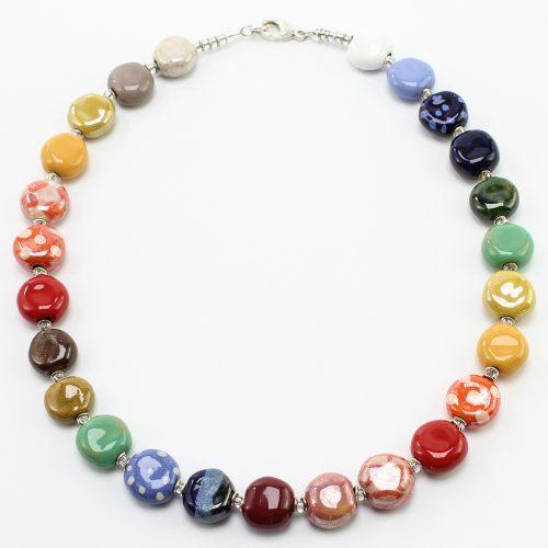 Bunte Kazuri Keramik-Kette von steinfarben, Manufaktur und Shop für Fair-Trade-Halsketten