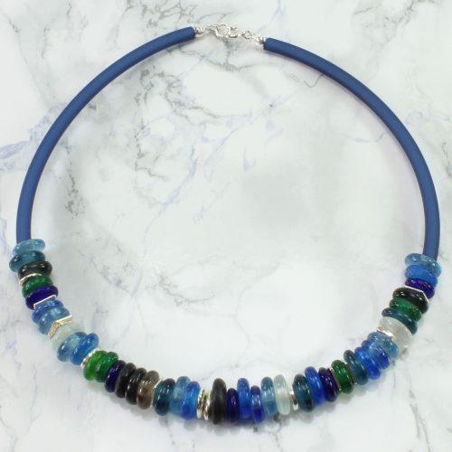 Halsreif mit Krobo-Glas blau