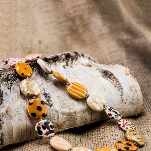 Halskette Kazuri-Keramik Gelbtöne