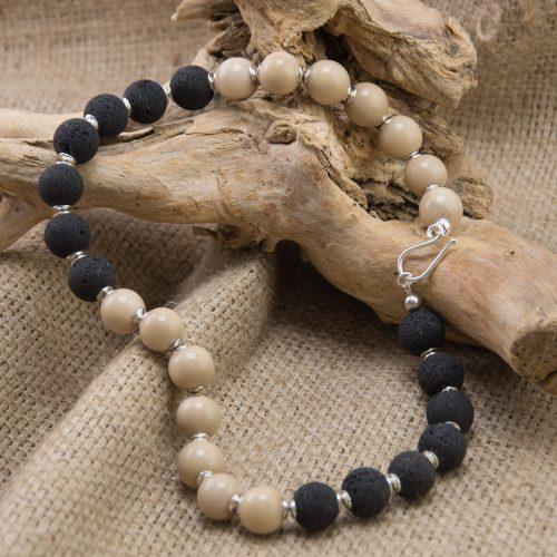 Halskette Tagua und Lava